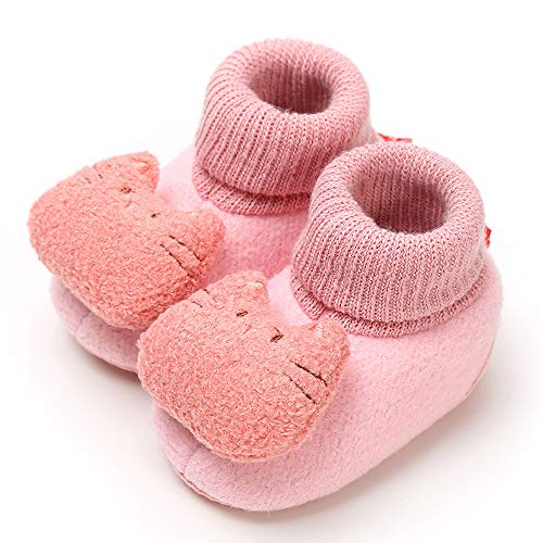 ers Animal Moccasins Non-Skid Indoor Slipper Winter Warm Shoes Socks (Pink, 12~18 Month) ()