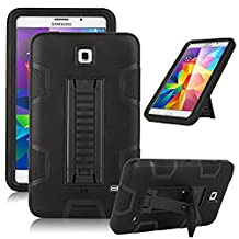 "Samsung Galaxy Tab 4 7.0 Case, Jwest [Kickstand] Full-body Rugged Hybrid Protective Dual Layer Design/Impact Resistant Bumper Case for Samsung Galaxy Tab 4 7.0"" inch T230 (Black+Black)"