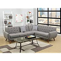2Pcs Modern Grey Polyfiber Linen-Like Fabric Sectional Sofa Set with Clean Lines and Curves and Accent Tufted Back Support for Living Room