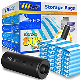 VMSTR Travel Vacuum Storage Bags with Electric Pump, Space Saver Bags for Travel and Home Use (6 PCS)