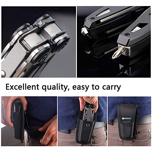 Multitool Pliers,Titanium 18-in-1 Multi-Purpose Pocket Knife Pliers Kit, Durable Stainless Steel Multi-Plier Multi-tool for Survival, Camping, Hunting, Fishing and Hiking (Titanium 18 in 1) by BIBURY (Image #3)