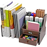 PAG Office Supplies Wood Desk Organizer Pen Holder Accessories Stroage Caddy with 1 Drawer, 7 Compartments, Brown