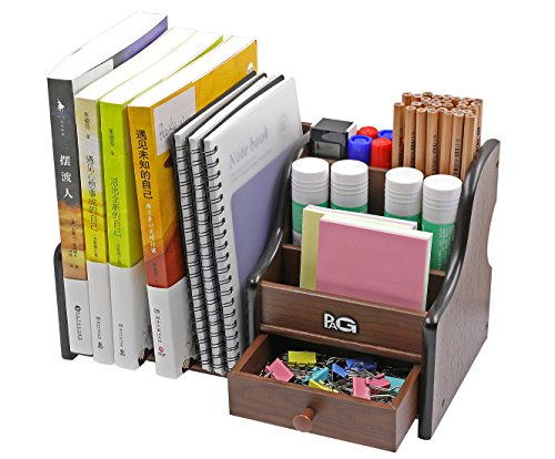 PAG Office Supplies Wood Desk Organizer Pen Holder Accessories Storage Caddy with 1 Drawer, 7 Compartments, Brown