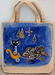 Stay happy with this hand painted one of a kind tote bag. An original design is painted on each side. Fabric paint keeps the bag soft after washing. One side is Blue, the other side is vintage orange.