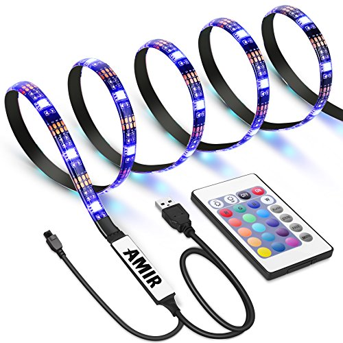 AMIR TV LED Light Strip, 30 LED TV Backlight Strip, USB Bias Monitor Lighting, Changing Color Strip Kit , Accent Light Set , Waterproof Bias Lighting For TV Desktop PC (Wireless remote (Transmission Plug Set)