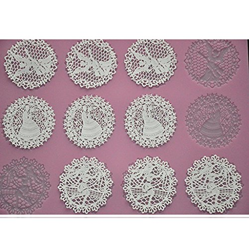 FOUR-C Baking Tools Embossing Silicone Pad Lace Cake Mat for Decoration Color Pink
