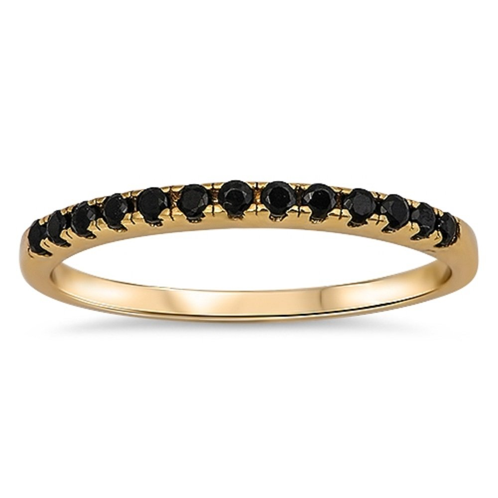 CloseoutWarehouse Yellow Gold-Tone Plated Stackable Black Cubic Zirconia Ring Sterling Silver 925