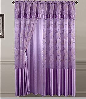 Golden Linens One Piece Embroidery Window Curtains/ Drape/ Panel/ Treatment  With Attached Valance