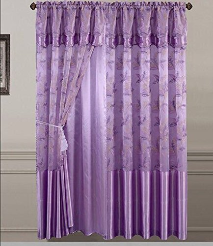 Golden Linens One Piece Embroidery Window Curtains/ drape/ panel/ treatment with Attached Valance And Liner Backing Lavender Purple