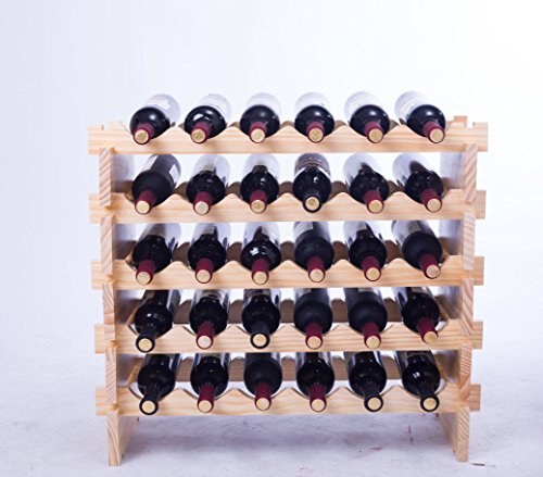 Solid Wood Wine Rack Modular Expandable Stackable Wine Storage Display Shelves (30 Bottles)