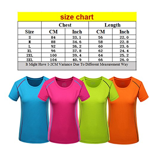 Laixing Buena Calidad Womens Casual Outdoor Sports Quick Dry Slim Fit T-Shirt Tops Short Sleeve Orange