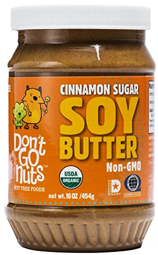Don't Go Nuts non-GMO Soy Butter, Cinnamon Sugar, 16oz BPA Free Plastic Jar (Twin Pack): Gluten Free, Vegan, Kosher, Peanut & Tree Nut Free