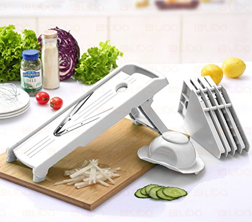 Mandoline Slicer w/ 5 Blades - Vegetable Slicer - Food Slicer - Vegetable Cutter - Cheese Slicer - Vegetable Julienne Slicer with 5 Surgical Grade Stainless Steel Blades (White) Mandolin Potato Slicer