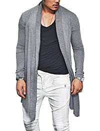 Men's Summer Ruffle Shawl Collar Cardigan Lightweight Cotton Blend Long Length Drape Cape