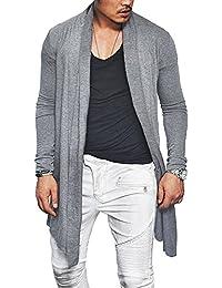 Men's Summer Ruffle Shawl Collar Cardigan Lightweight Cotton Blend Long Length Drape Cape