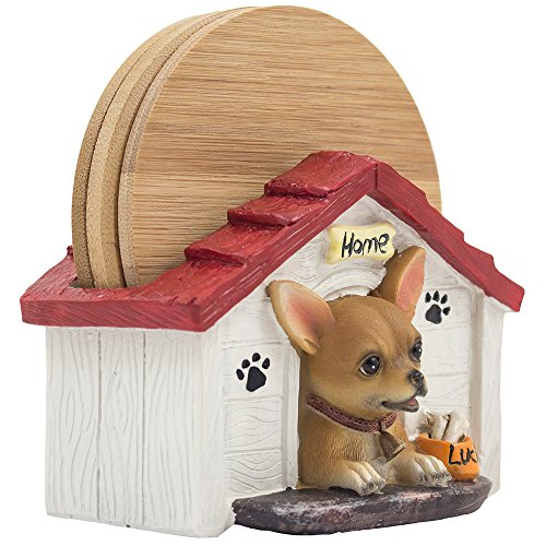 Cute Chihuahua Puppy in Doghouse Bamboo Drink Coaster Set with Dog Bowl on Decorative Holder Display Stand Figurine As Unique Kitchen Table Decor for Pet Decorations and Gifts for Dog Lovers