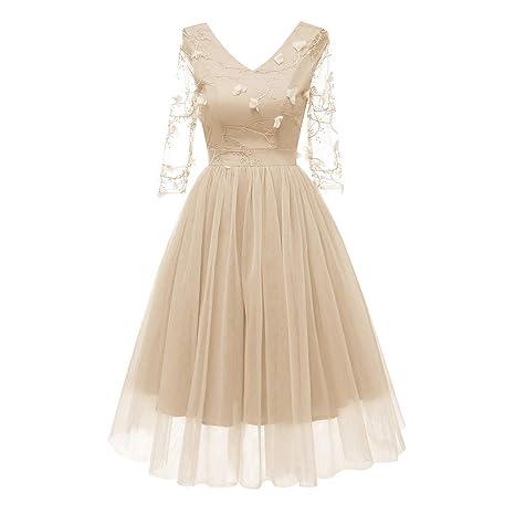 ee69abef1046 Donna Vestiti Chiffon Invernali Corti Eleganti da Cerimonia Vintage Fiore  Stampato Camicia Vestito Manica Lunga Matita