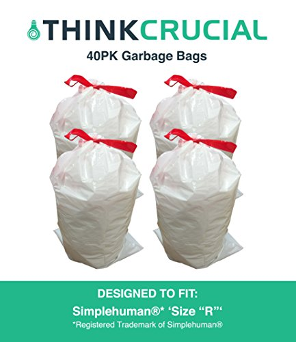 Think Crucial 40PK Durable Garbage Bags Fit Simplehuman Size