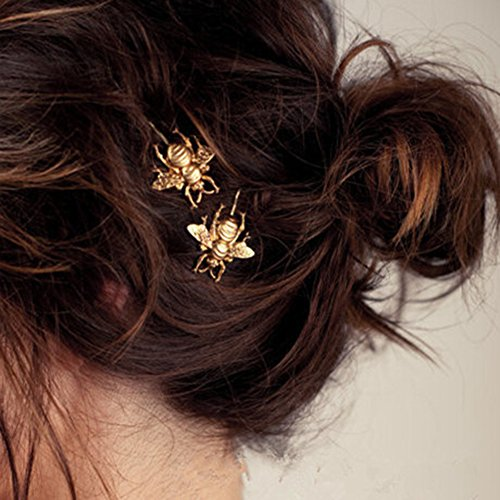 Bluelans 2PCS Style Women Girl Exquisite Gold Bee Hairpin Side Clip Hair Accessories (Gold Bee)