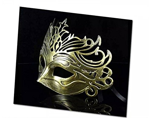 Face mask Shield Veil Guard Screen Domino False Front Ball Party mask Rustic mask Dance mask Man's mask Ancient Rome Fighter Crown mask Gold by PromMask (Image #1)