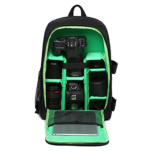 G-raphy Camera Backpack Waterproof for DSLR/SLR Cameras (Canon, Nikon, Sony and etc), 17' Laptops, Tripods, Flashes, Lenses and Accessories (Green)