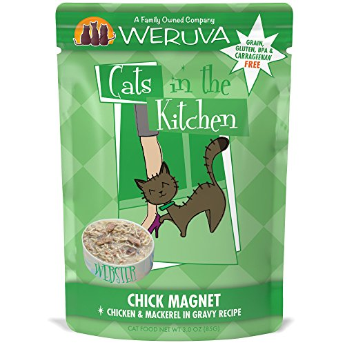 Weruva Cats in the Kitchen, Chick Magnet with Chicken & Mackerel in Gravy Cat Food, 3oz Pouch (Pack of 8) -