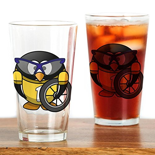 Pint Drinking Glass Little Round Penguin - Cyclist in Yellow Jersey