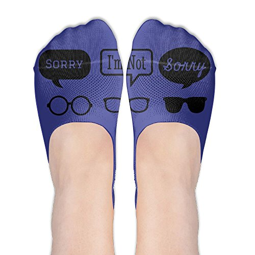 Sorry I'm Not Sorry Glasses Slogan Compression Non Slip No Show Low Cut - I Denmark Glasses