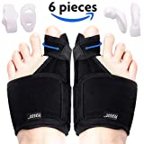Bunion Corrector Bunion Relief Kit (Bunion Splints, Gel Toe Protect Separator Sleeves, Toe Separators) for Hallux Valgus - Day/Night Time Support for Women and Men (Foot Length 9-11 Inch, Size 5-10)