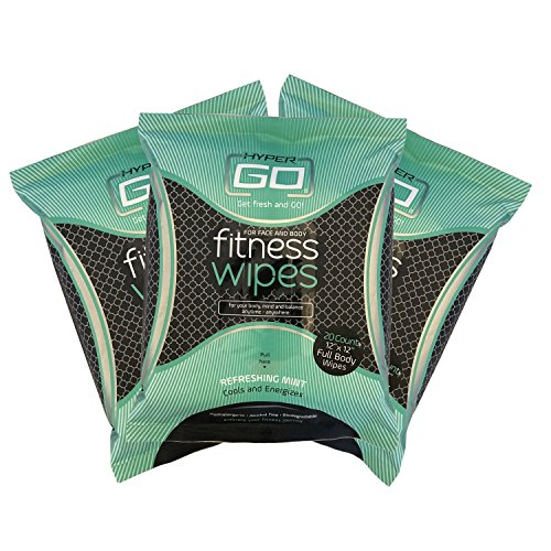 HyperGo Fitness Wipes, Full Body Wipes, Refreshing Mint Scent, Hypoallergenic, All Natural Ingredients, Biodegradable (20 Wipes in Resealable Package) (3 (Refreshing Scent)