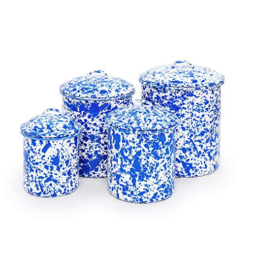 Crow Canyon Home Enamelware Canister Set, 4 pc, Blue & White Splatter