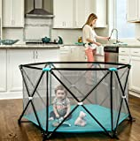 Baby : Regalo My Play Portable Playard Indoor and Outdoor with Carry Case and Washable, Aqua, 6-Panel