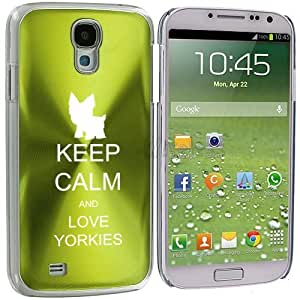 Samsung Galaxy S4 S IV i9500 Aluminum Plated Hard Back Case Cover Keep Calm and Love Yorkies (Green)