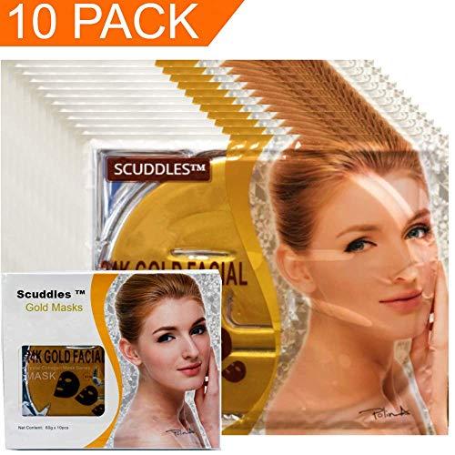 24 Collagen Gold Mask - Majestic Gold  Face Sheet 10 Masks- Facial Gold Beauty Mask for Women - Korean Peel Off Moisturizing Mask