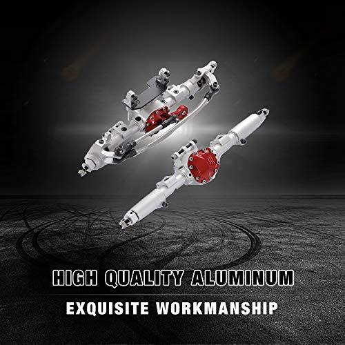 RZXYL Aluminum Universal Alloy Front Axle and Rear Axle for 1:10 Axial SCX10 RC Model Crawler Car (Silver)