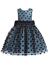 datework Child Girls Kids Dot Tulle Bow Princess Dress Performance Formal Dress Clothes