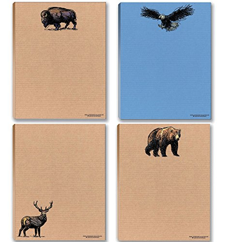 (Wildlife Notepads Assorted Pack - Bear, Deer, Eagle & Buffalo Assorted Pads)