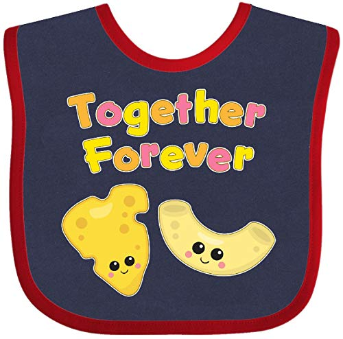 Inktastic - Together Forever- Cheese and Macaroni Baby Bib Navy and Red 2823a