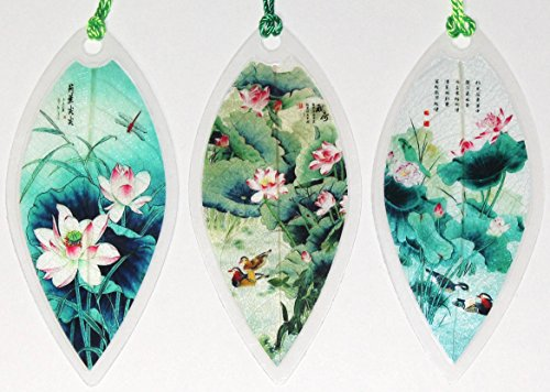Lucore Leaf Bookmarks - Lotus Plant & Flowers Painting Lucky Charm, Ornament, Hanging & Wall Decor, Art Decoration - 3 Pcs, Made of Real Leaves
