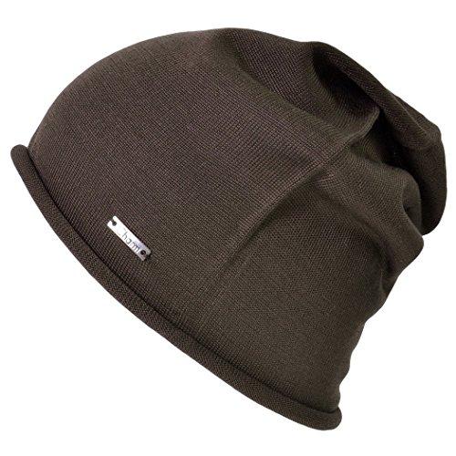 Silk Winter Hat (Casualbox Charm 100% Silk Beanie Hat Mens Womens Soft Slouchy Summer Unisex Stretchy Brown)