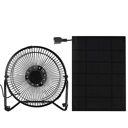 Godyluck Black Solar Panel Powered/USB Iron Fan Outdoor Traveling Fishing Home Office Camping Hiking Picnic Barbecue Cooling Ventilation Car Cooling Fan 4/6/8Inch 3W/5W