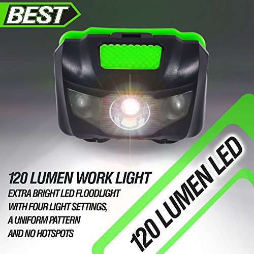 Best 120 Lumen Waterproof LED Headlamp with 4 Modes (White & Red LEDs)