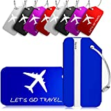 Pack of 10 Luggage Tags, Aluminum Travel ID Labels Tag for Baggage Suitcase Bag