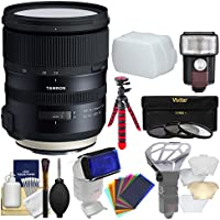 Tamron 24-70mm f/2.8 G2 Di VC USD SP Zoom Lens with 3 UV/CPL/ND8 Filters + Flash + Flex Tripod Kit for Canon EOS DSLR Cameras