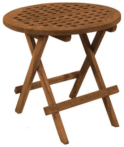 SeaTeak 60031 Round-Grate Top Folding Deck Table, Oiled Finish (Folding Table Teak)