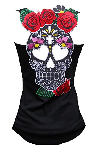 Rockabilly Punk Rock Baby Woman Black Tank Top Shirt Muerte Flower Tiki Skull XL (Sexy Mexican Woman)