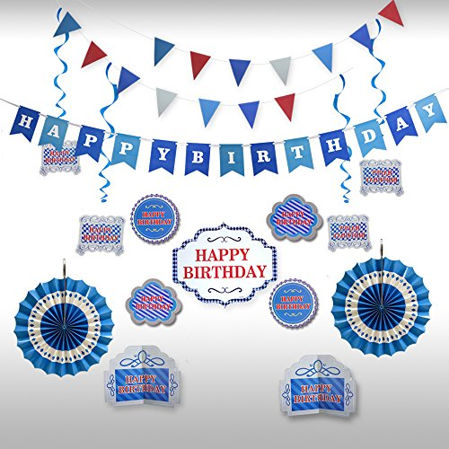 Happy Birthday Decoration and Party Supplies with Blue Theme Banner Kit for Boy by Friday Night