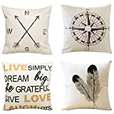 Unves Decorative Throw Pillow Covers, 18x18inch Cotton Linen Couch Sofa Cushion Pillow Covers for Bedroom Living Room Cars Decor Set of 4