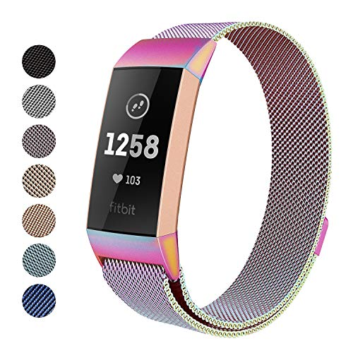 Yutior Metal Bands Compatible Fitbit Charge 3 & Charge 3 SE, Milanese Stainless Steel Magnetic Replacement Bands for Women Men Small & Large, Silver, Rose Gold, Black, Colorful