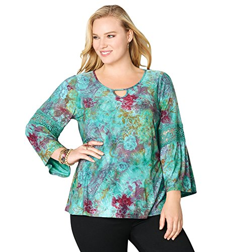 Avenue Women's Abstract Floral Crochet Top, 30/32 Blue